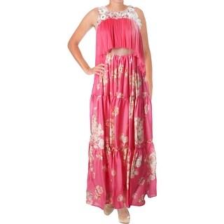 DELPOZO Womens Semi-Formal Dress Silk Floral Print - 38