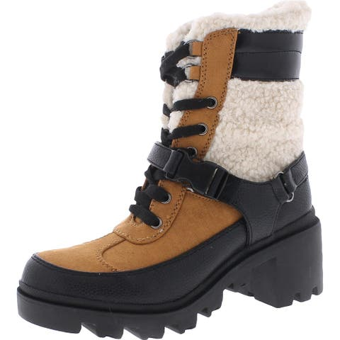Steve Madden Womens Winter Boots Faux Leather Lace Up - Cognac Multi