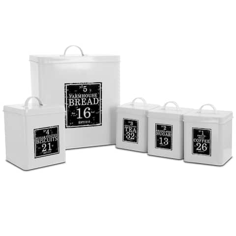 MegaChef Kitchen Food Storage 5 Piece Canister Set in White and Black