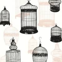 Brewster 450-67330 Avian Black Bird Cages Wallpaper
