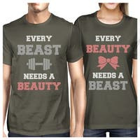 Every Beast Beauty Matching Couple Gift Shirts Cool Grey Round Neck