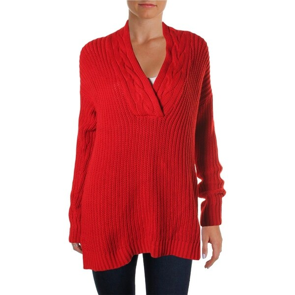 Lauren Ralph Lauren Womens Pullover Sweater Cable Knit Ribbed Trim