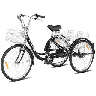Goplus 26'' Single Speed 3-wheel Bicycle Adult Tricycle Seat Height Adjustable w/ Bell - Black