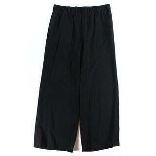INC NEW Solid Deep Black Women's Size XL Pleated Wide-Leg Pants