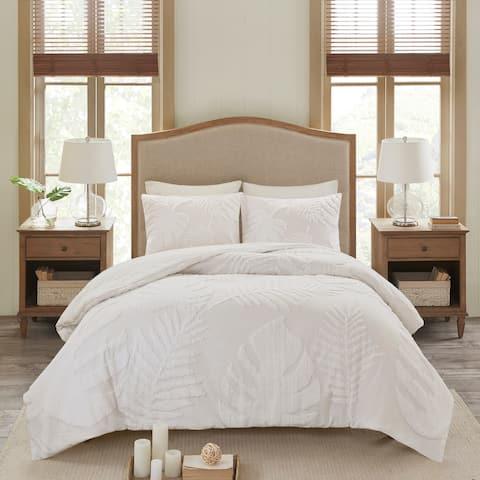 Madison Park Osanna White Tufted Cotton Chenille Palm Comforter Set