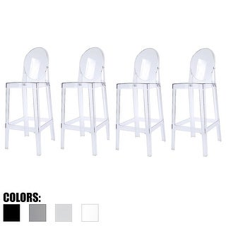 """2xhome - Set of 4 Clear Modern 30"""" Seat Bar Stool Counter Height With Back Plastic Chairs For Home Restaurant Office"""