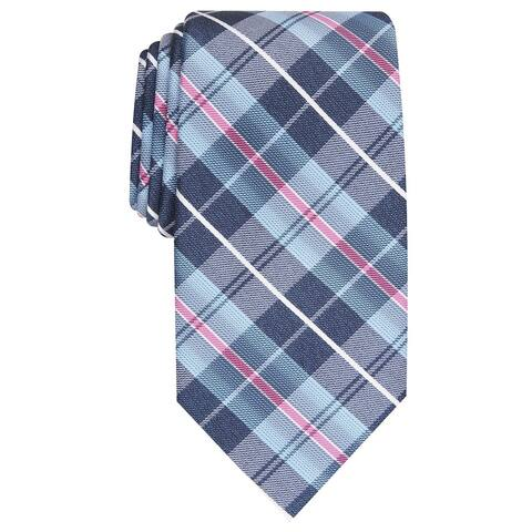 Perry Ellis Men's Dever Classic Plaid Tie Navy Size Regular