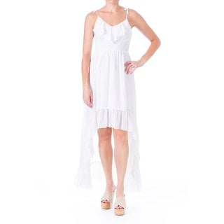 Guess Womens Juniors Chiffon Ruffled Maxi Dress