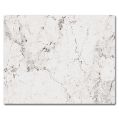 """Counter Art Glass Cutting Board / Counter Saver 12""""x15"""", White Marble - 12""""x15"""""""