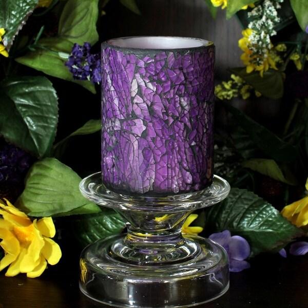 Mosaic Glass LED Flicker Candle - Purple