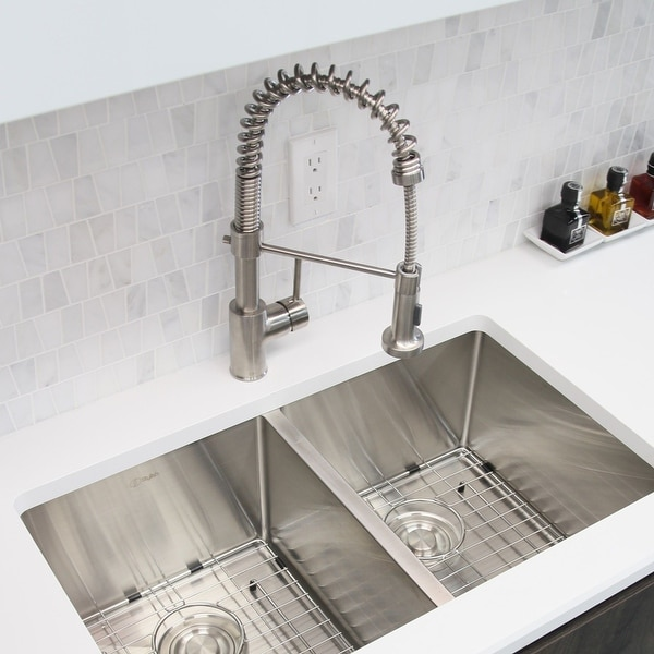Single-Handle Pull-Down Sprayer Kitchen Faucet with Spring Design in Brushed Nickel. Opens flyout.