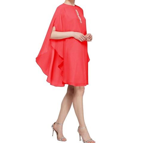 SLNY Pink Womens Size 2 Rhinestone Embellished Caplet Shift Dress