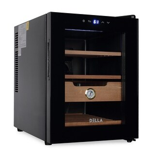 DELLA Freestanding Cigar Humidor Cooler LED Climate Controlled 350 Cigar Capacity, Black