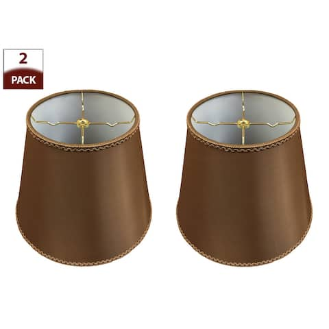 Royal Designs, Inc. HB-645-14BR, Set of 2, Designer Empire Hardback Lamp Shade with Top and Bottom Trim, (8x14x11), Brown