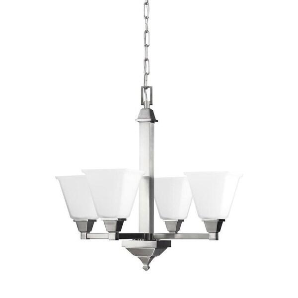 Sea Gull Lighting 3150404-962 Denhelm Glass 4-Light Chandelier Nickel Finish - nickel finish