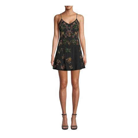 NICOLE MILLER Black Spaghetti Strap Short Dress 8