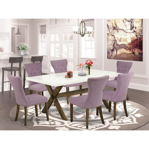 Dining Set - Kitchen Table and 4 Parson Dining Chairs with Dahlia Linen Fabric Seat (Number of Chairs Option)