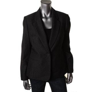 Nine West Womens Solid Notch Collar One-Button Blazer - 2