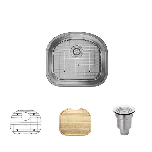 """Rene R1-1017 20-1/8"""" Single Basin Stainless Steel Kitchen Sink - Basin Rack, Basket Strainer, and Cutting Board Included"""
