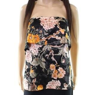 WAYF NEW Black Women's Size Medium M Floral Popover Strapless Blouse