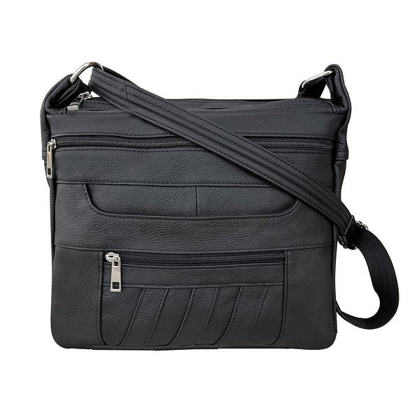 3a6d3e4a63 Shop Leather Concealed Carry Crossbody Purse - YKK Locking CCW Ambidextrous  Gun Bag Roma 7082 - Free Shipping Today - Overstock - 18608253