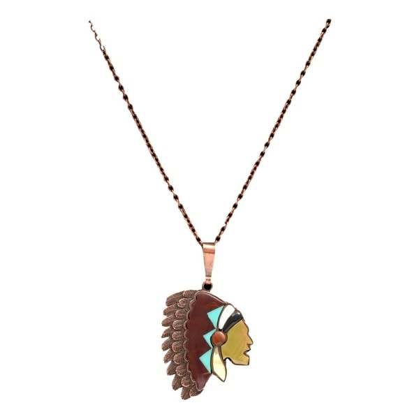 "LoulaBelle Western Jewelry Womens Necklace Chief 32"" Copper LN9047C"