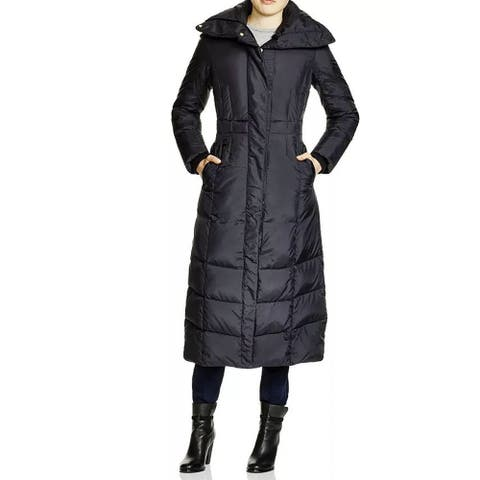 Cole Haan Women's Long Maxi Down Coat with Oversize Collar, Black, Large