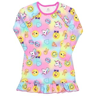 Emoji's Sleep Shirt Nightgown Light Fleece Sleepwear Big Girls Pajamas