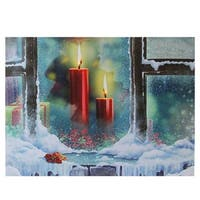 "LED Lighted Snowy Window Pane and Candles Christmas Canvas Wall Art 12"" x 15.75"" - Red"