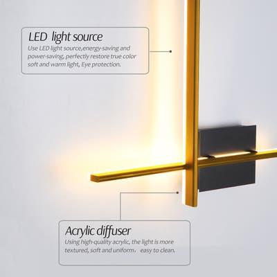 """Gold Minimalist Linear Aluminum Wall Lamp for Corridors Hallways - L21.06""""x W18.11""""x H2.95"""""""