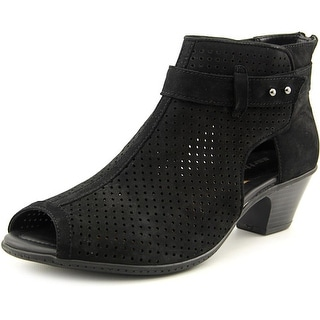 Earth Intrepid Women  Open-Toe Leather Black Bootie
