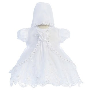 Baby Girls White Embroidered Scalloped 3 Piece Christening Dress
