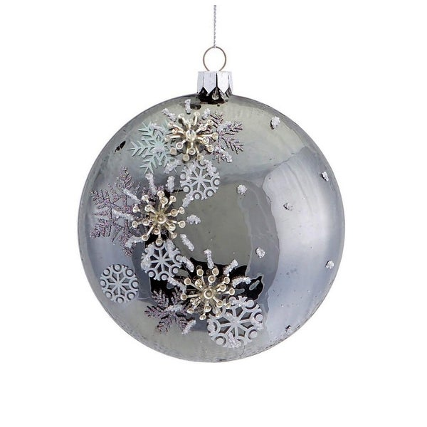 "4.5"" Shiny Pewter Gray Beaded 3D Snowflake Christmas Disc Ornament"