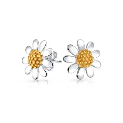 Daisy Flower Tiny Stud Earrings For Women For Teen Tone 14K Gold Plated 925 Sterling Silver 10 MM