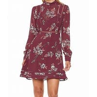ASTR Wine Red Women's Size Small S Floral Sheer Sheath Dress