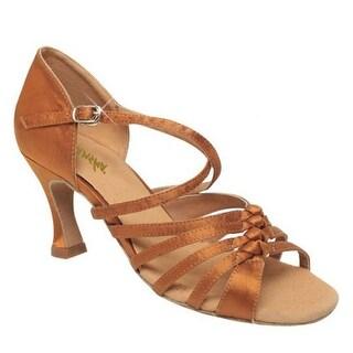 Sansha Adult Dark Tan Satin Criss-Cross Strap Gipsy Ballroom Shoes Womens