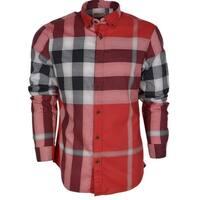 Burberry Brit Men's Fred Red Nova Check Cotton Long Sleeve Shirt S
