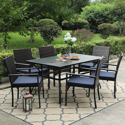 PHI VILLA 7-piece Outdoor Bistro Dining Set with Rattan Garden Chairs