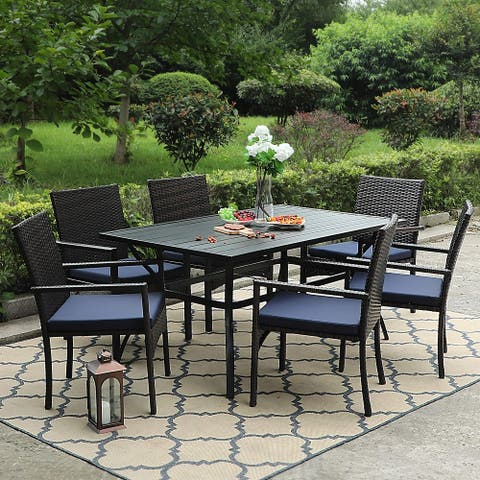 "PHI VILLA 7 Piece Outdoor Dining Sets, 60""x38"" Rectangular Dining Table with 1.57"" Umbrella Hole and 6 Rattan Garden Chairs"