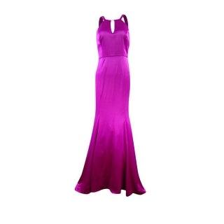 Adrianna Papell Women's Halter Keyhole Satin Mermaid Gown - 6