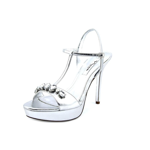 Nina Jada Women Open Toe Leather Silver Sandals