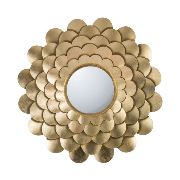 """31.5"""" Gold Modern Chic Style Floral Mirrored Wall Decor - N/A"""