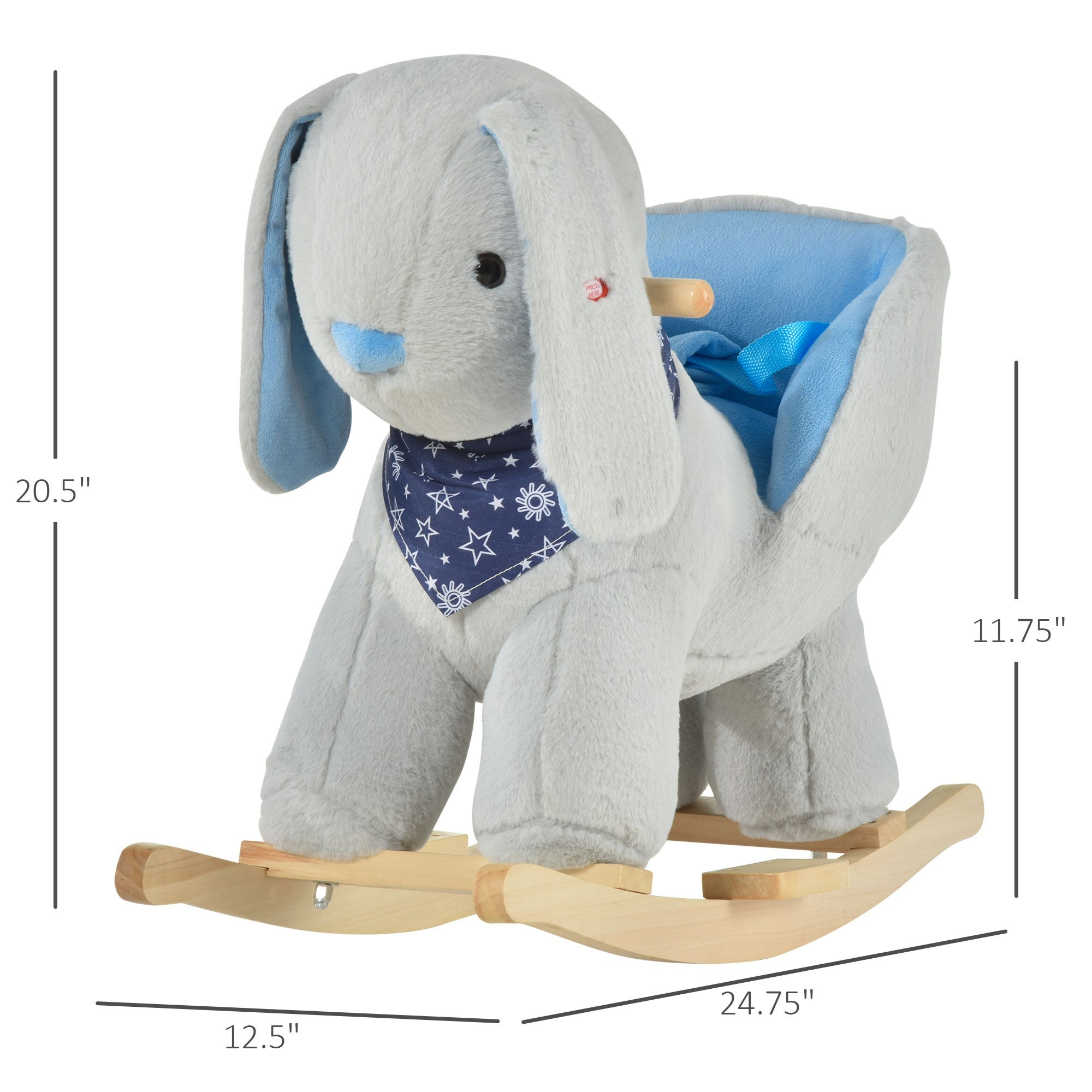 Qaba Kids Ride On Rocking Horse Toy Bunny Rocker With Fun Play Music Soft Plush Fabric For Children 18 36 Months Overstock 32192681