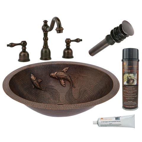 Premier Copper Products BSP2_LO19FKOIDB Bathroom Sink, Widespread Faucet and Accessories Package