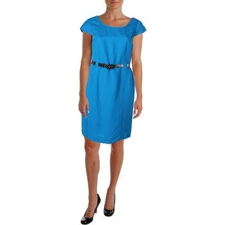 Tahari ASL Womens Tim Linen Knee-Length Wear to Work Dress