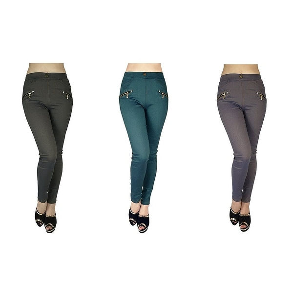 Women's Slimming 4-Pocket Skinny Pants With Zippers (3-Pack) - 3 diferent colors - m/l