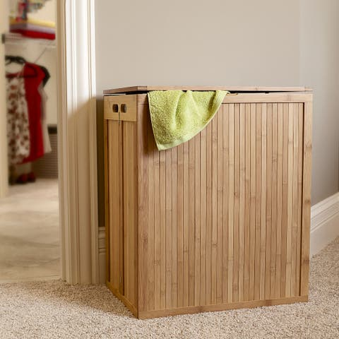 Household Essentials Folding Bamboo Laundry Hamper with Hinged Lid and Cotton Liner