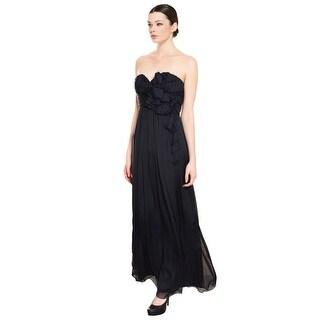 A.B.S. Midnight Silk Rosette Long Gown Dress - 0