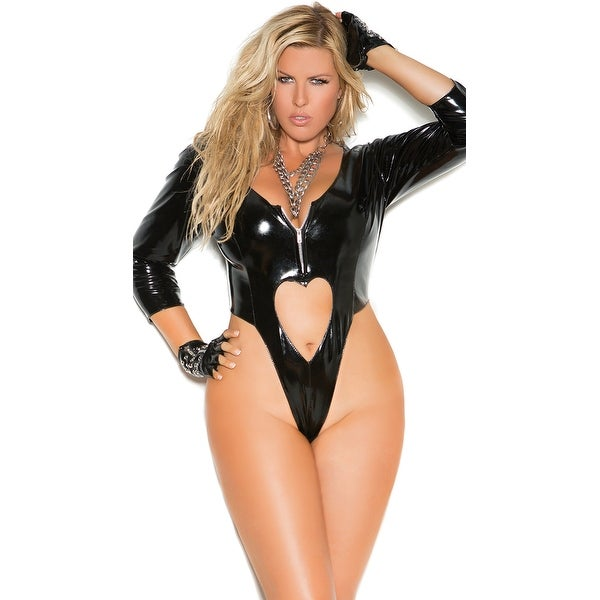 80287b159f Shop Plus Size Vinyl Thong Teddy With Heart Cut Outs