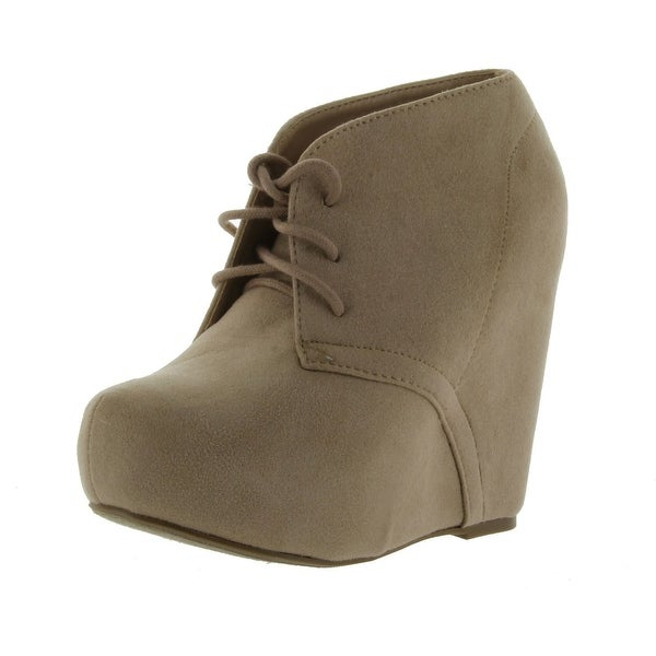 Soda Pager-S Lace Up Almond Toe Platform Ankle Wedge Bootie